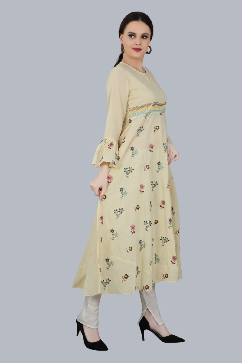 Right Side view of Cream Cotton Gown