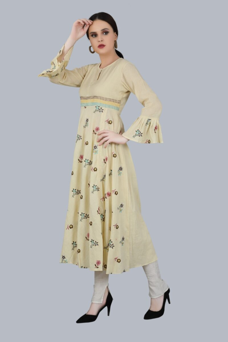 Left Side view of Cream Cotton Gown