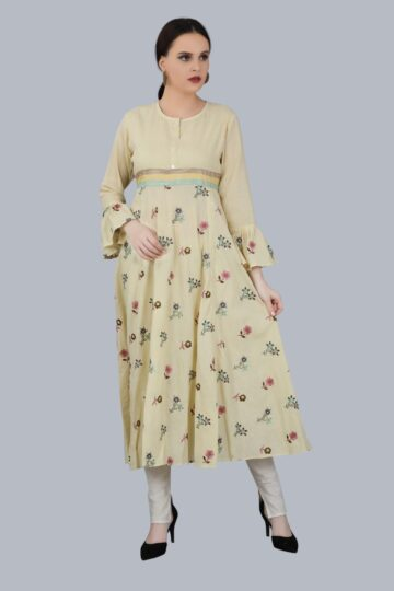 Front view of Cream Cotton Gown