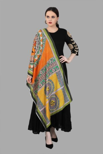 Front view of Black Cotton Gown with Dupatta