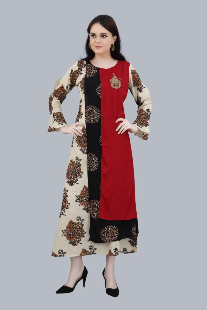 Front view of Maroon and Black Cotton Kurti