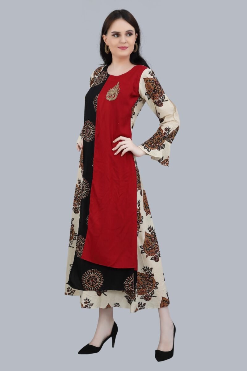 Left Side view of Maroon and Black Cotton Kurti