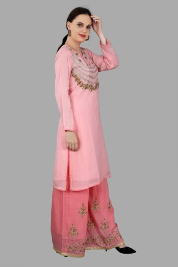 Right Side view of Pink Top Palazzo Set