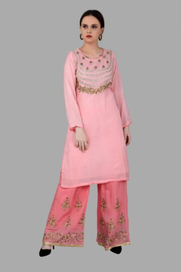 Front view of Pink Top Palazzo Set