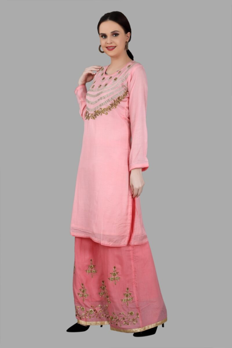 Left Side view of Pink Top Palazzo Set