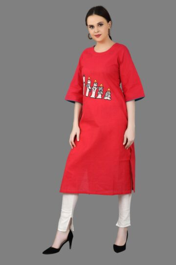 Front view of Red Cotton Fancy Kurti