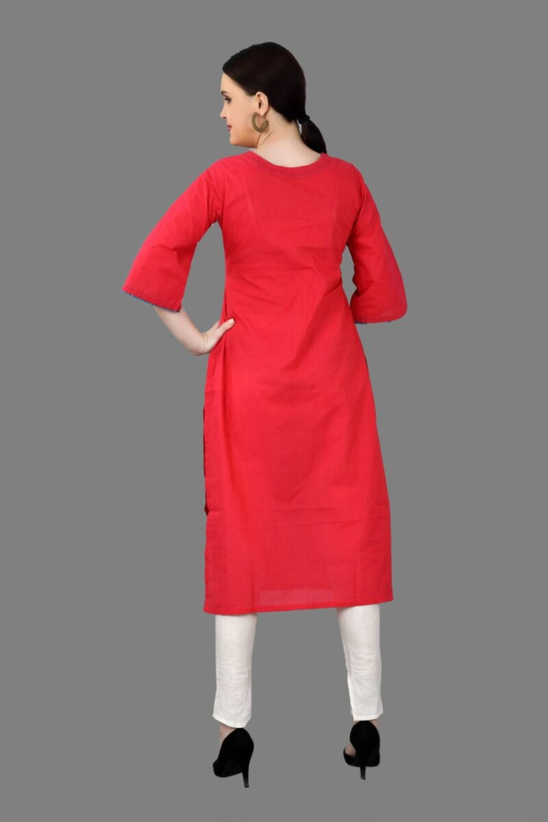 Back Side view of Red Cotton Fancy Kurti