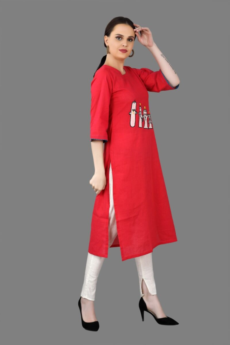 Right Side view of Red Cotton Fancy Kurti
