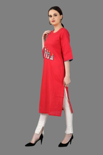 Left Side view of Red Cotton Fancy Kurti