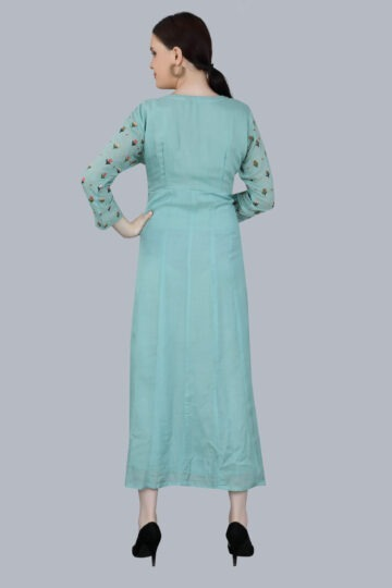 Back Side view of Designer printed Pale Blue Gown