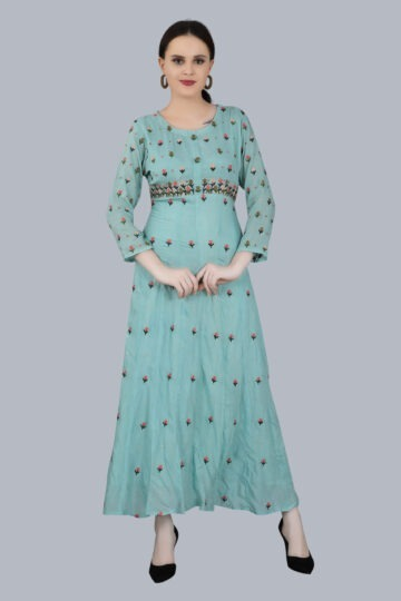 Front view of Designer printed Pale Blue Gown