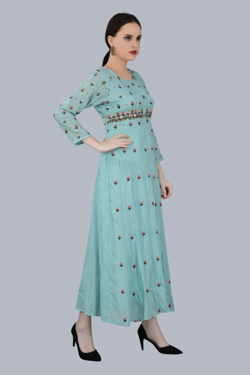 Right Side view of Designer printed Pale Blue Gown