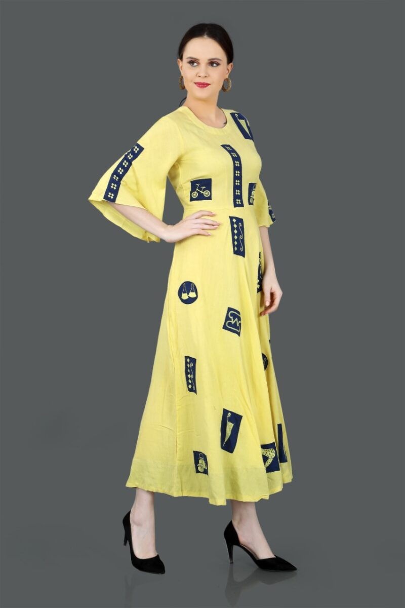 Right Side view of Yellow Printed Cotton Gown