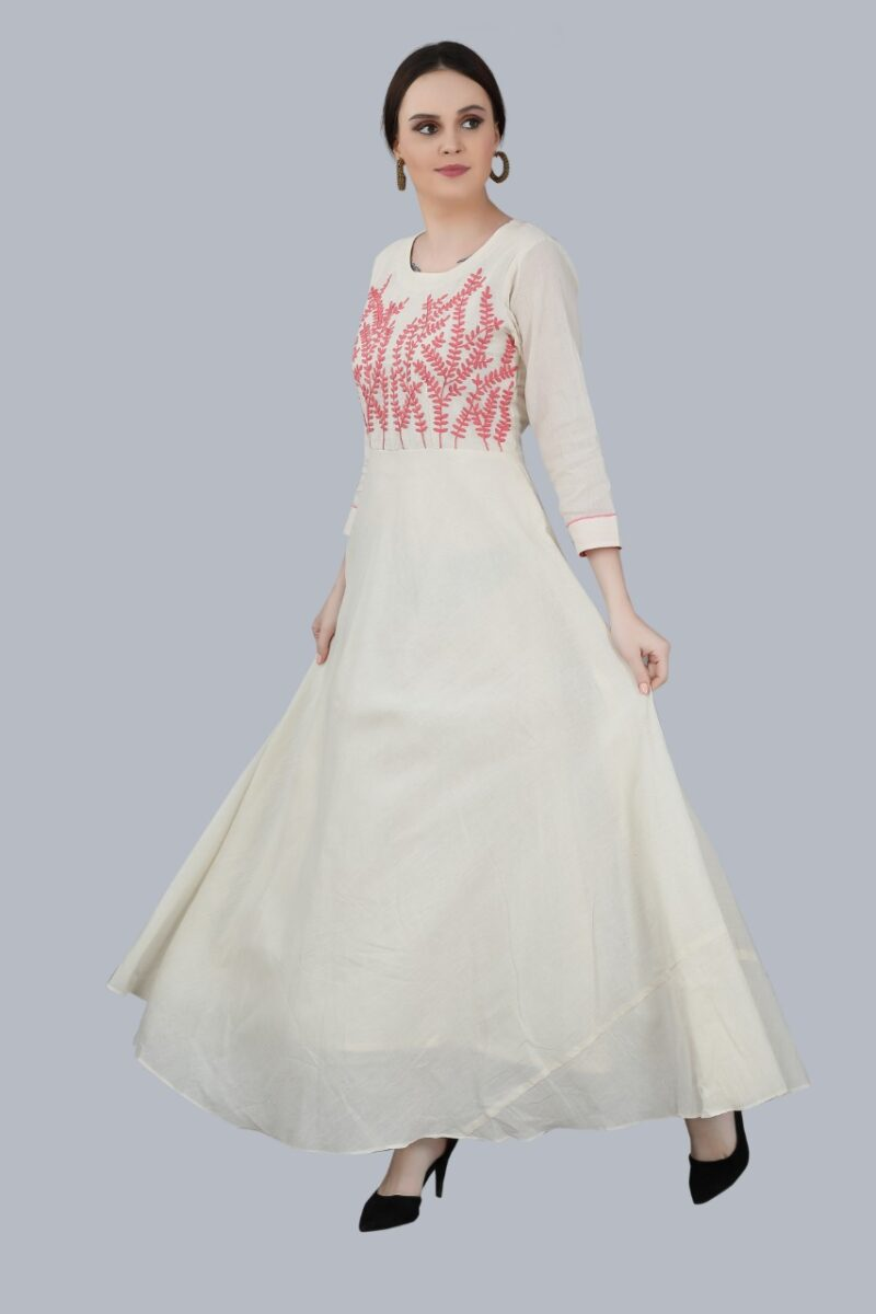 Side view of Cream Gown with Yok Embroidery