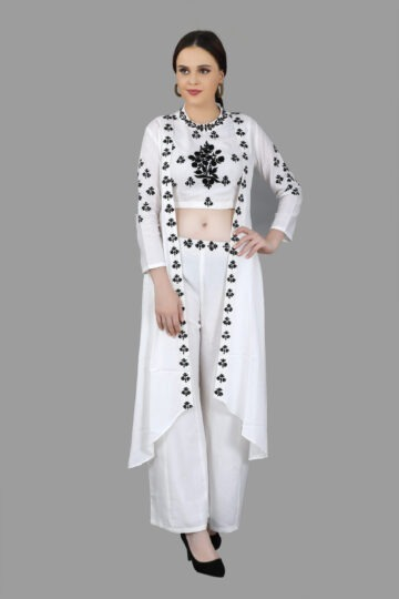Front view of Black & White Crop Top With Palazzo Set