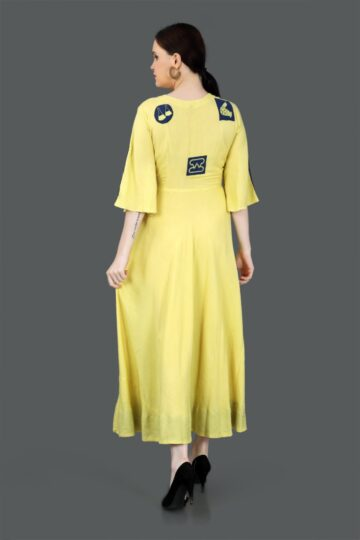 Back Side view of Yellow Printed Cotton Gown