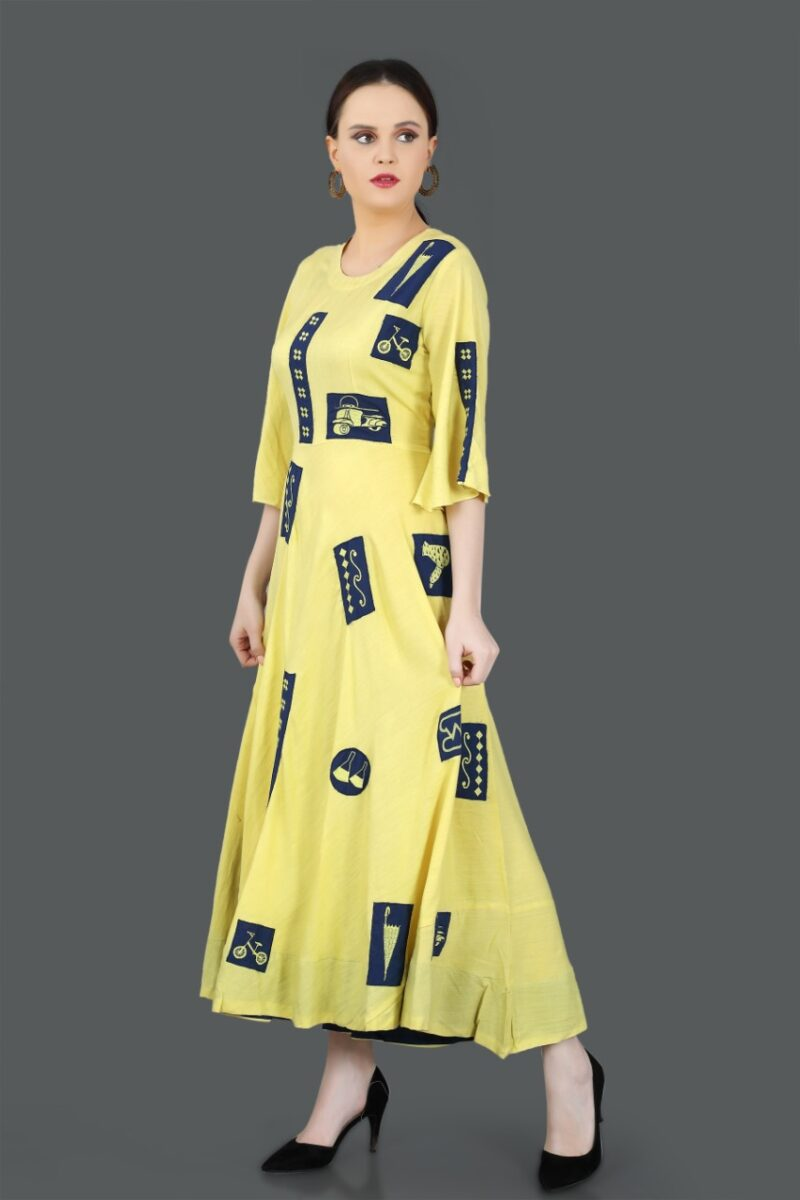 Left Side view of Yellow Printed Cotton Gown