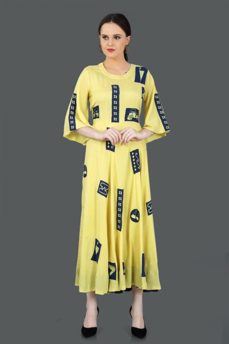 Front view of Yellow Printed Cotton Gown
