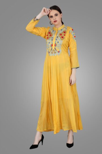 Front view of Yellow Muslin Embroidered Gown