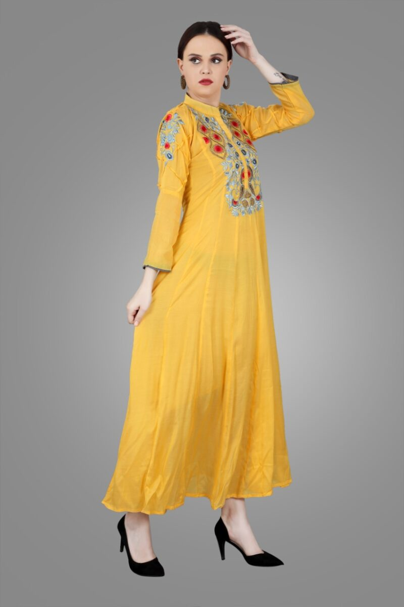 Right Side view of Yellow Muslin Embroidered Gown