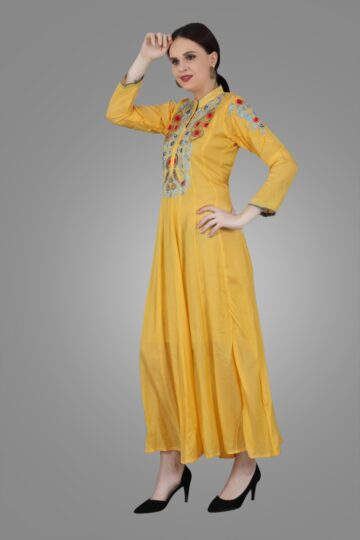 Left Side view of Yellow Muslin Embroidered Gown